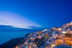 Vista pintoresca, ciudad vieja de Oia o Ia en la isla Santorini fotografía de archivo libre de regalías