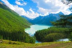 Vista pintoresca del lago azul Kucherla, montañas de Altai fotografía de archivo libre de regalías