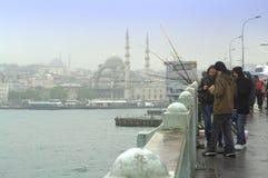 Vista piovosa del ponte di Bosphorus Immagini Stock Libere da Diritti