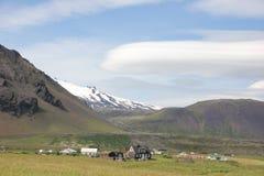 Vista pitoresca de uma vila, Islândia Foto de Stock