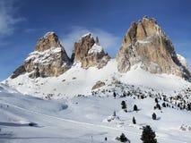 Vista pittoresca del gruppo di Langkofel Alpi Sella Ronda della dolomia L'Italia Fotografia Stock Libera da Diritti