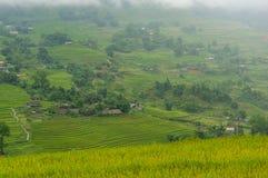 Vista pittoresca sul villaggio di alta montagna fra i terrazzi del riso Fotografia Stock