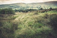 Vista pittoresca sulle colline vicino a Edale, parco nazionale di punta del distretto, Derbyshire, Inghilterra, Regno Unito Immagini Stock Libere da Diritti