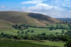 Vista pittoresca sulle colline vicino a Edale, parco nazionale di punta del distretto, Derbyshire, Inghilterra, Regno Unito Fotografia Stock Libera da Diritti