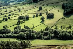 Vista pittoresca sulle colline vicino a Edale, parco nazionale di punta del distretto, Derbyshire, Inghilterra, Regno Unito Fotografie Stock Libere da Diritti