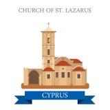 Vista plana de la atracción del vector del St Lazarus Larnaca Cyprus de la iglesia ilustración del vector