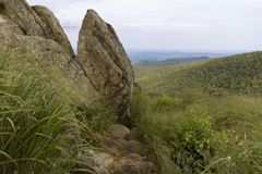 Views That Go On Forever. The vista points in Shenandoah National Park are amazing. The land stretches out on all sides of these rocky hilltops Stock Photo