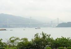 Vista, ponte e barca del mare Fotografia Stock