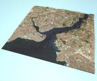 Vista por satélite de Estambul, Turquía, mapa, sección 3d Fotografía de archivo