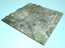 Vista por satélite de Guilin, China, mapa, sección 3d Foto de archivo libre de regalías