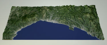 Vista por satélite de la costa ligur, Génova, Italia Imagen de archivo libre de regalías