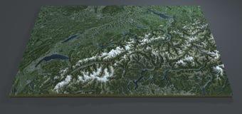 Vista por satélite de Suiza, mapa del terreno de la sección 3d Foto de archivo