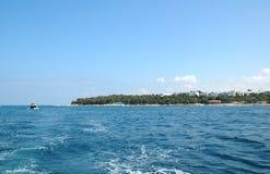 Vista a Porec del barco, Croacia Foto de archivo
