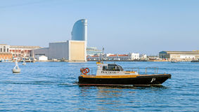 Vista port view with Barcelona pilot boat Stock Photo