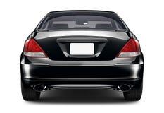 Vista posterior automotriz del sedán negro Foto de archivo
