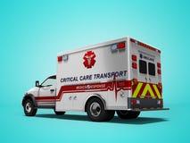 Vista posterior blanca 3d del coche de la ambulancia rendir en fondo azul con la sombra imagenes de archivo