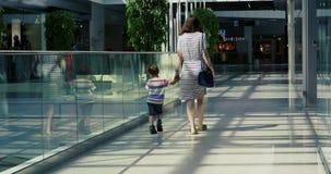 Vista posterior de caminar del hijo de la mujer y del niño almacen de video