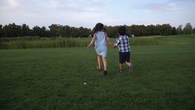 Vista posterior de dos hermanos que corren en parque del verano almacen de metraje de vídeo