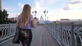 Vista posterior de la empresaria que camina con el teléfono móvil almacen de video