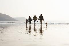 Vista posterior de la familia que camina a lo largo de la playa del invierno con el perro Fotos de archivo libres de regalías