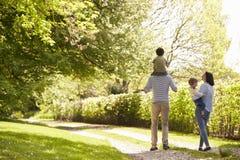 Vista posterior de la familia que va para el paseo en campo del verano fotografía de archivo libre de regalías