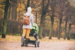 Vista posterior de la madre que camina con el cochecito en parque Imagen de archivo libre de regalías