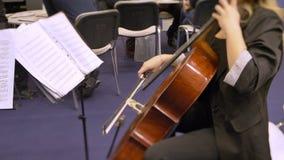Vista posterior de la mujer que toca el violín y que mira en notas metrajes