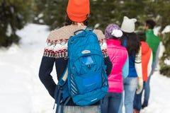 Vista posterior de la parte posterior del invierno de Forest Young Friends Walking Outdoor de la nieve del grupo de la gente Foto de archivo