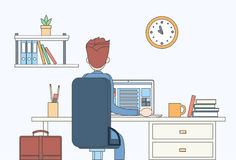 Vista posterior de la parte posterior del ordenador portátil del lugar de trabajo de la oficina del escritorio del hombre de nego libre illustration
