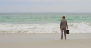Vista posterior de la situación caucásica del hombre de negocios con la cartera en la playa 4k almacen de metraje de vídeo