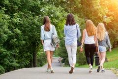 Vista posterior de las muchachas de los amigos del grupo cuatro que caminan en el camino con los árboles y el flash del sol fotografía de archivo