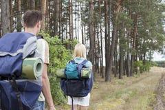 Vista posterior de los backpackers jovenes que caminan en rastro del bosque Fotografía de archivo