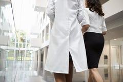 Vista posterior de los doctores Talking As They Walk a través del hospital Imágenes de archivo libres de regalías