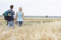 Vista posterior de los jóvenes que caminan los pares que caminan a través de campo Foto de archivo libre de regalías