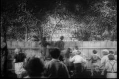 Vista posterior de los niños que miran sobre la cerca de madera metrajes