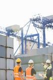 Vista posterior de los trabajadores que examinan los contenedores para mercancías en yarda de envío Imagenes de archivo