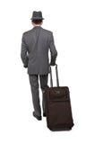 Vista posterior de un viajero de negocios caucásico imágenes de archivo libres de regalías