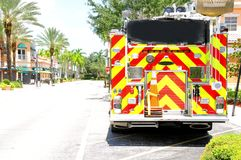 Vista posterior del coche de bomberos, la Florida Foto de archivo