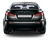 Vista posterior del coche negro del sedán Fotos de archivo libres de regalías