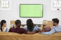 Vista posterior del grupo de amigos jovenes que miran la televisión junto Foto de archivo libre de regalías