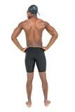 Vista posterior del nadador en el fondo blanco Imagen de archivo