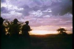 Vista posterior del safari en la salida del sol metrajes