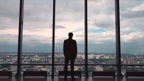 Vista posterior el hombre de negocios en una oficina con la opinión panorámica de la ciudad El hombre de negocios admira la ciuda Foto de archivo
