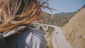 Vista posteriore del primo piano sparata della giovane donna con capelli che volano nel vento che gode della vista della strada p stock footage
