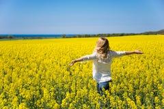 Vista posteriore della condizione della donna nel campo giallo sotto cielo blu Fondo perfetto immagine stock libera da diritti