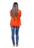 Vista posteriore di stare giovane bella donna fotografia stock