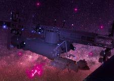 Vista posteriore di una stazione spaziale di fantascienza nello spazio cosmico Fotografia Stock
