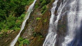 Vista próxima da cachoeira entre a silvicultura Rocky Hills filme