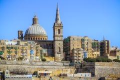 Vista próxima de Valletta do mar Fotografia de Stock