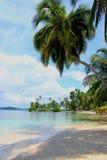 Vista principal de la playa meridional en la isla de Pelicano en Panamá Foto de archivo libre de regalías